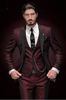 erkek takım elbise smokinleri toptan satış-Yakışıklı Groomsmen Tepe Yaka Damat Smokin Bir Düğme Erkek Takım Elbise Düğün / Balo İyi Adam Blazer (Ceket + Pantolon + Yelek + Kravat) 888