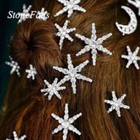 ingrosso ornamenti di cristalli-StoneFans Silver Crystal Moon Star HairPin Strass Girl Bobby Pezzo di capelli in tendenza Clip di capelli Pin Wedding ornamenti per le spose