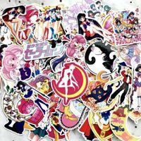 ay bisikleti toptan satış-75 Adet / takım Klasikleri Anime Sailor Moon Sticker Araba Dizüstü Kaykay Bisiklet Su Geçirmez PVC Su buz ay Çıkartmalar L