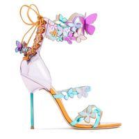 ingrosso sophia abito da sposa-sandali da sposa sophia webster da sposa farfalla cinturino alla caviglia sexy scarpe da festa vestito da donna decolleté taglia euro 42 con scatola