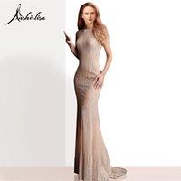 elegante nackte kleider prom großhandel-Anshirlisa Frauen Luxus Formale Abendkleid Lange Meerjungfrau Sexy Tüll Illusion Party Kleid Nude Glitter Abendkleid Elegante Perlen