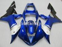 ingrosso yzf r1 blu-Vendita calda Kit carene iniezione per YAMAHA R1 2002 2003 carene blu bianco YZF R1 02 03 NH36