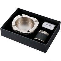 ingrosso set di posacenere-Posacenere onesto + accendino Set posacenere in metallo di fascia alta in metallo per uomo regalo in casa ufficio