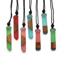 colares de pingente de madeira venda por atacado-5 unidades / lotes Requintado Resina De Madeira splice Pingente colares Feminino Moda camisola selvagem colar de jóias femininas presentes