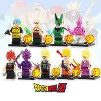 majin buu oyuncakları toptan satış-Dragon Ball Z Vegeta Goku Bardock Gohan Majin Buu Tien Shin Han Bulma Mükemmel Cep Mini Action Figure Oyuncak Yapı Taşı Tuğla