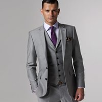 mens grau stück anzüge groihandel-Drei Stück Grau Groomsmen Smokings Herren Anzüge fallendem Revers nach Maß Hochzeit Trauzeuge Smoking (Jacket + Vest + Pants)
