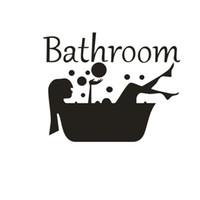 etiqueta de vidrio puerta de baño al por mayor-Mujer Ducha Bañera Pegatinas de Pared Baño Aseo Arte Mural Decoración para el Hogar Ventana de Vidrio Puerta Papel Tapiz Impermeable Vinilo Tatuajes de Pared