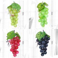 bastones de fruta al por mayor-Frutas artificiales Altas Decoración para el hogar Decoración Cemento plástico Caña simulada Uva Hogar con escarcha Uvas falsas 7 5yx L1