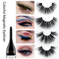Wholesale water resistant makeup resale online - Colorful Magnetic Eyeliner False Eyelashes Set Waterproof Eyeliner Magnetic Thick Long Fake Eyelash Makeup Tools HHA662