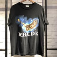 camisetas de algodón de la mejor calidad al por mayor-19ss Rhude camiseta Wagle Mejor calidad camiseta Estilo de verano Camisetas de algodón Top Tees Camiseta vintage