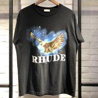 melhor qualidade camisetas de algodão venda por atacado-19ss Rhude T camisa Wagle Melhor Qualidade T-shirt Estilo Verão Algodão T-shirt Top Tees T-shirt Do Vintage