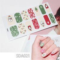 набор рождественских наклеек оптовых-10 листов / шт. 14 советов полный набор ногтей наклейки для ногтей блестящие блестки стикер Рождество самоклеющиеся накладные ногти маникюрный набор