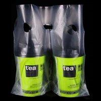 pacote de xícara de café venda por atacado-3 Tamanhos Duplo Copo De Plástico Transparente Lidar Com Pacote Saco Beber Malotes Portador De Suco De Café Chá Que Levanta Embalagem Sacos Transparentes