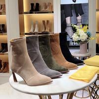 las mejores marcas de zapatos de mujer de senderismo al por mayor-Botas de invierno de lujo para mujer de alta calidad Botas de cuero de gamuza Pies flacos Botines de senderismo Zapatos de marca Super star Con caja original