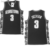 camisas de allen iverson al por mayor-Nueva llegada Hombres Georgetown 3 # Allen Iverson College Jersey Iverson bethel high school Universidad Baloncesto Camiseta cosida