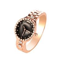 anillos de boda para hombre chapados en oro al por mayor-Reloj con forma de anillo Precioso banquete de boda anillo de lujo chapado en oro / plata Lindo noble clásico Joyas mujeres para hombre anillos de joyería