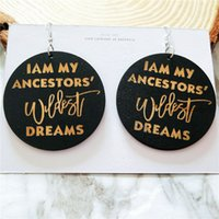 bijoux à tête d'oreille achat en gros de-Europe et Amérique exagérée tête africaine motif géométrique rondes boucles d'oreilles en bois de mode bijoux en bois oreille en gros