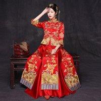 toast weinlese großhandel-Neuheit Stickerei Blumen Braut Hochzeit Kleid Toast Kleidung Chinesischen Frauen Vintage Qipao Oriental Cheongsam Anzug Hochzeitsgeschenk