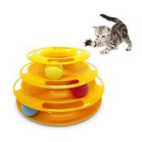 juguetes físicos al por mayor-Gato Gatito Tres Capas Colorido Pista Bola Torre Diversión Estimulación Mental Ejercicio Físico Puzzle Juguetes para Gato