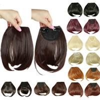 человеческие волосы бахромы темно-коричневый оптовых-8inches Short Front Аккуратные челки клип в бахромой челка расширений волос прямые синтетические естественные человеческие волосы расширения челкой