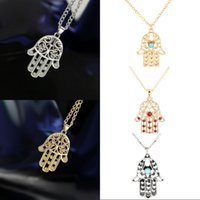 Wholesale hand hamsa necklace for sale - Group buy Free DHL Christmas Gift Styles Fatima Hamsa Hand Pendant Lucky Necklace Turkey Evil Eye Charm Necklaces Women Vintage Jewelry New G383S F
