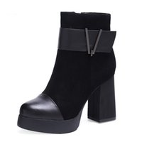 botines de piel de oveja de gamuza al por mayor-Suede punta redonda negro mujer botas de invierno botines de cuero genuino zapatos de piel de oveja de piel de tacón alto tobillo grueso lujo