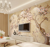 Wholesale Custom D Wallpaper Embossed Colorful Carved Flower Twig Flying Bird Living Room Bedroom Background Wall Decoration Wallpaper