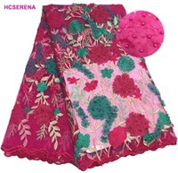 ingrosso fiori ricamati tessuti in pizzo-Promozione! Tessuto africano del merletto del fiore 3D Tulle nuziale del merletto Tessuto del merletto della maglia ricamato nigeriano francese per il partito dress.5yards