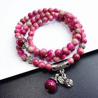 pulsera de piedra granate rojo al por mayor-Natural Sweet Garnet Multi - Con cuentas Red Stone Love Bracelet Good Lucy Beads Presents Envío gratis