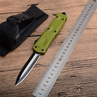Wholesale green camping gear for sale - Double Action Automatic Tactical Rescue Knife Aluminum alloy Army Green Handle EDC Camping Gear Outdoor Pocket Survival Knives P959M F