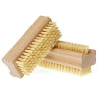 cepillo de pies al por mayor-Cepillo de cerdas de jabalí natural Cepillo de uñas de madera Cepillo de limpieza de pies Scrubber de masaje corporal Herramientas de maquillaje RRA1859