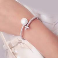 brazaletes de oro blanco para las mujeres al por mayor-Venta al por mayor nueva joyería de moda de color oro blanco circonita perla cruz estrella apertura brazalete brazalete Bijoux para mujer S516