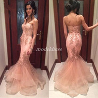 Hot selling 2019 Blush Mermaid Prom Dresses Sweet Heart Backless Appliques Beads Long Arabic Formal Evening Party Gowns Special Occasion Dress Plus Size