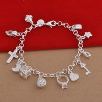 Wholesale lobster rings resale online - 925 Sterling Silver Plated Charms Bracelets Heart Lock Cross Ring Star Moon Charm Bracelet Pendants Charms Jewelry Christmas Gift