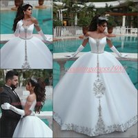 Wholesale plus sequin gown for sale - Group buy Luxurious Said Mhamad Satin Beads Wedding Dresses Plus Size Crystal Arabic Off Shoulder Satin Train African Wedding Gowns Ball Bridal