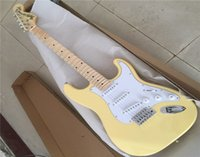 Wholesale solid maple wood electric guitar resale online - Factory Custom Natural Wood Color Electric Guitar with Clouds Maple Veneer Maple Fretboard Chrome Hardware Can be Customized