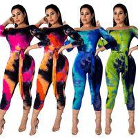 Wholesale long sleeve romper women s resale online – Off Shoulder Gradient Jumpsuit Star Printed Mid Calf Pants Long Sleeve Romper Skinny Fashion Women Home Clothing cm E1KK