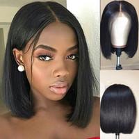 dantel peruk fabrikası toptan satış-Fabrika Fiyat Dantel Ön İnsan Saç Peruk Brezilyalı Bob Kesim sınıf Bakire Remy İnsan Saç Siyah Kadınlar Için Tam Peruk Msjoli saç