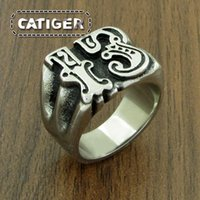 Wholesale lucky 13 rings resale online - Punk Steel color L Stainless Steel Lucky Ring Rock Number Thirteen Men s Skeleton Rings Jewelry