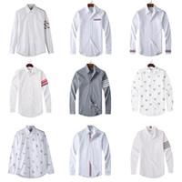 chemises décontractées uniques pour hommes achat en gros de-Chemise homme unie couleur unie américaine de haute qualité Thom TB Browne Marque de vêtements à manches longues pour hommes Chemise 100% coton Taille unique S-XL