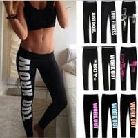 fitness yoga pantolon siyahı toptan satış-Kadınlar için Spor Pantolon Siyah Koşu Pantolon Tayt Egzersizi Wear Harf Baskılı Bayanlar Kadınlar Spor Yoga Gym Work Out