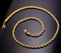 collar de cadena de oro real de 18k. al por mayor-2019 Nueva moda 18-30 pulgadas 3 mm 18 K Collar de cadena de cuerda de acero inoxidable chapado en oro real para hombres Cadenas de oro Regalo de joyería de moda