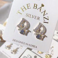 ingrosso marca dd-DD marchio classico designer di alta qualità cristallo lettera orecchini gioielli di moda per le donne dichiarazione imitazione orecchini di perle gioielli
