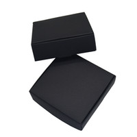 ingrosso carta di scatola del pacchetto al dettaglio-10.4x9.2x3cm Nero Carta Kraft Pacchetto Cartoncino Scatola di carta Tag Foto Pacchetto Scatole di cartone Contenitore di monili Regalo Scatola di immagazzinaggio 50 pz / lotto