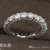 moissanite düğün yüzükleri kadınlar toptan satış-2 CT Katı 925 Ayar Gümüş Düğün Yıldönümü Mozanit Yüzük Nişan Band Moda Takı Erkek Kadın Damla Nakliye