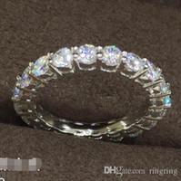 imitação anéis de noivado ouro branco venda por atacado-2 CT Solid 925 Sterling Silver Anniversary Moissanite Anel de Noivado Banda Moda Jóias Homens Mulheres Transporte da gota