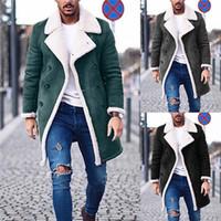 herren-trenchcoats groihandel-Designer Mens Normal Trench Coats Mode Fleece Warme Winterjacke plus Größe Mens Casual Lange Mäntel