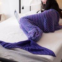 ingrosso pesce artigianale a crochet-Ins moda nuove scale di pesce multicolore, coperte a coda di sirena lavorato a maglia, coperta a sirena Coperta di coda di maid