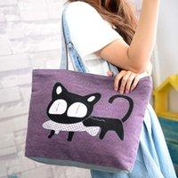 lindos bolsos para la escuela al por mayor-Bolso de lona especial de gato de dibujos animados Bolso de escuela de muy buen gusto para niñas Bolsos de mujer Bolso de compras Bolsos de hombro lindos