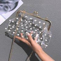 bolso de color perla al por mayor-ISHOWTIENDA Bolsos de perlas Sweet Hasp Moda para mujer Bolso de jalea de color sólido Bolsas diagonales transparentes bolsa feminina